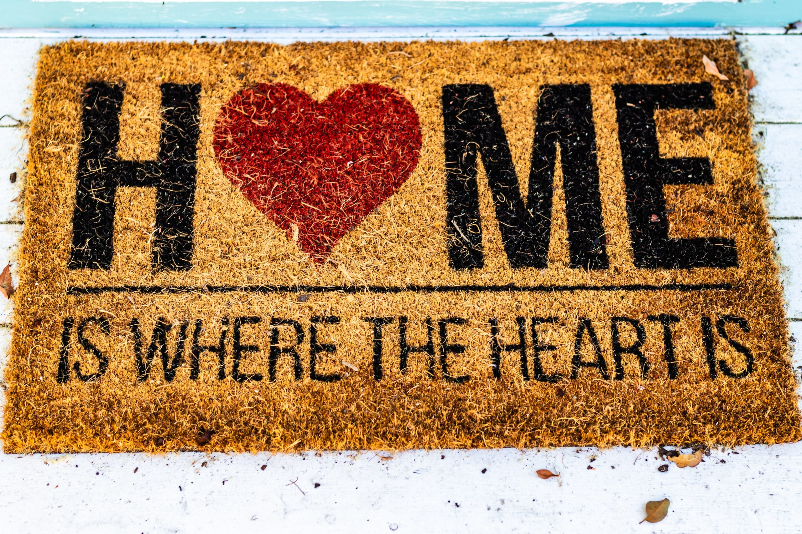 a door mat that reads home is where the heart is
