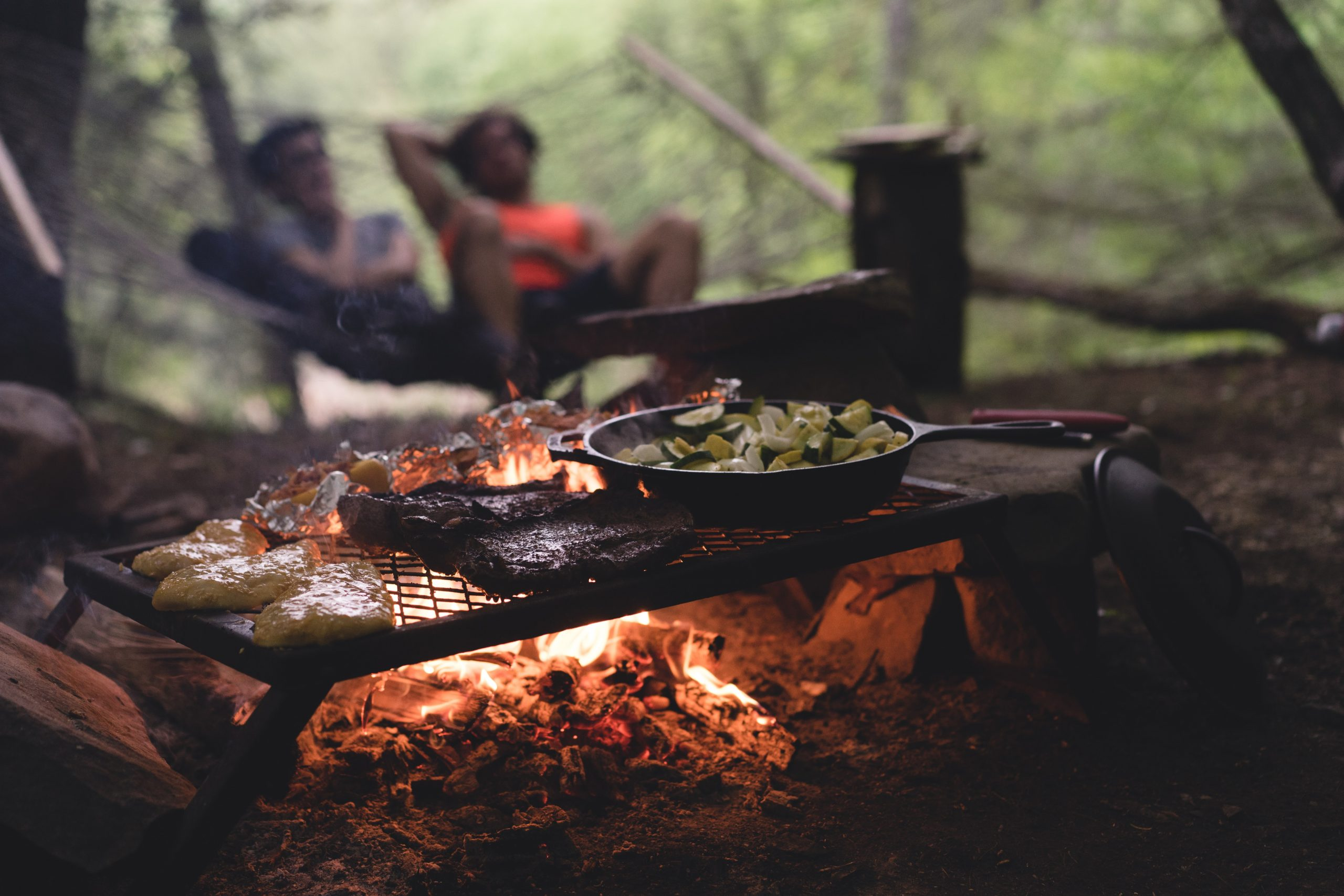 food cooks on a grill over a campfire