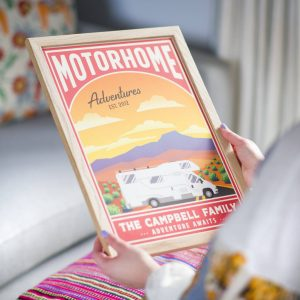 a vintage style campervan framed print