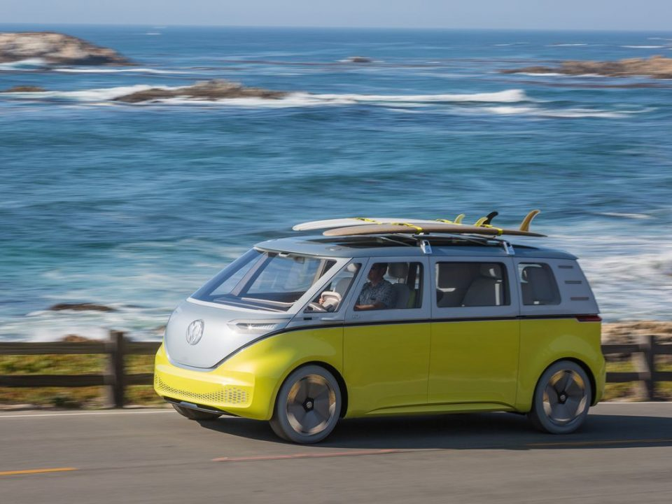 a yellow and silver volkswagen electric campervan