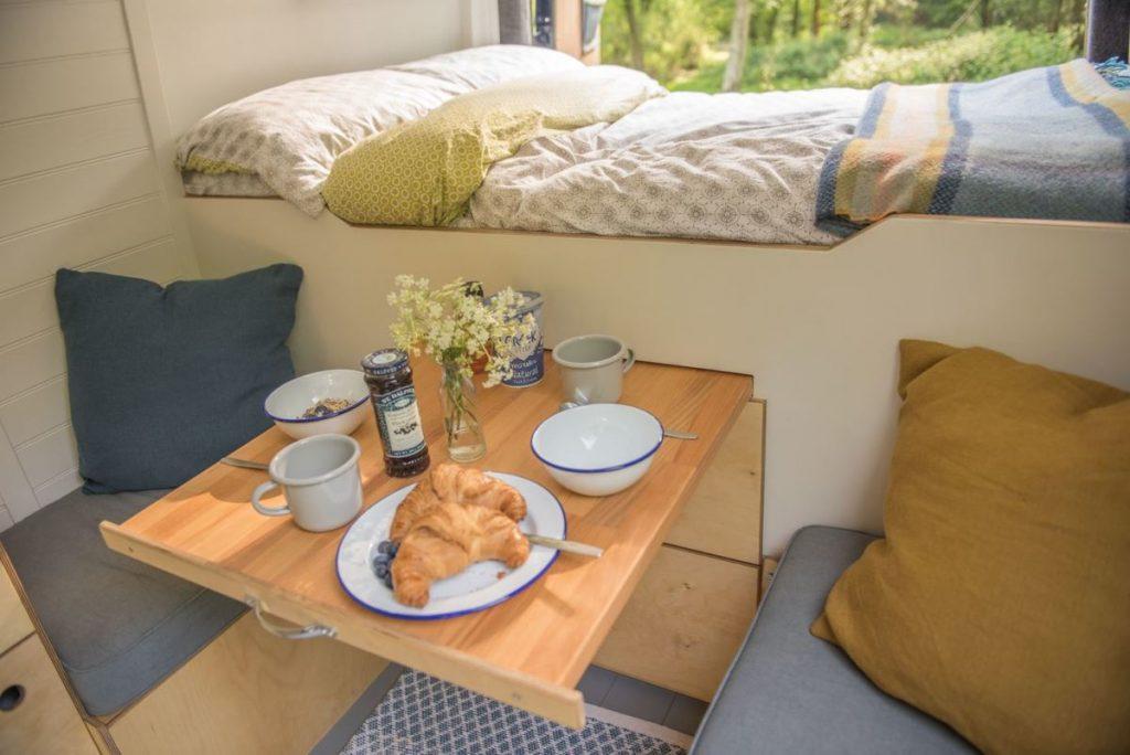 drawer style campervan table